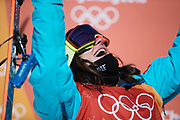 PYEONGCHANG-GUN, SOUTH KOREA - FEBRUARY 17: Sarah Hoefflin of Switzerland reacts during the Womens Slopestyle Freestyle Skiing on day eight of the PyeongChang 2018 Winter Olympic Games at Phoenix Snow Park on February 17, 2018 in Pyeongchang-gun, South Korea. Photo by Nils Petter Nilsson/Ombrello               ***BETALBILD***