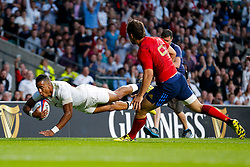 England Winger Anthony Watson scores the opening try - Mandatory byline: Rogan Thomson/JMP - 07966 386802 - 15/08/2015 - RUGBY UNION - Twickenham Stadium - London, England - England v France - QBE Internationals 2015.
