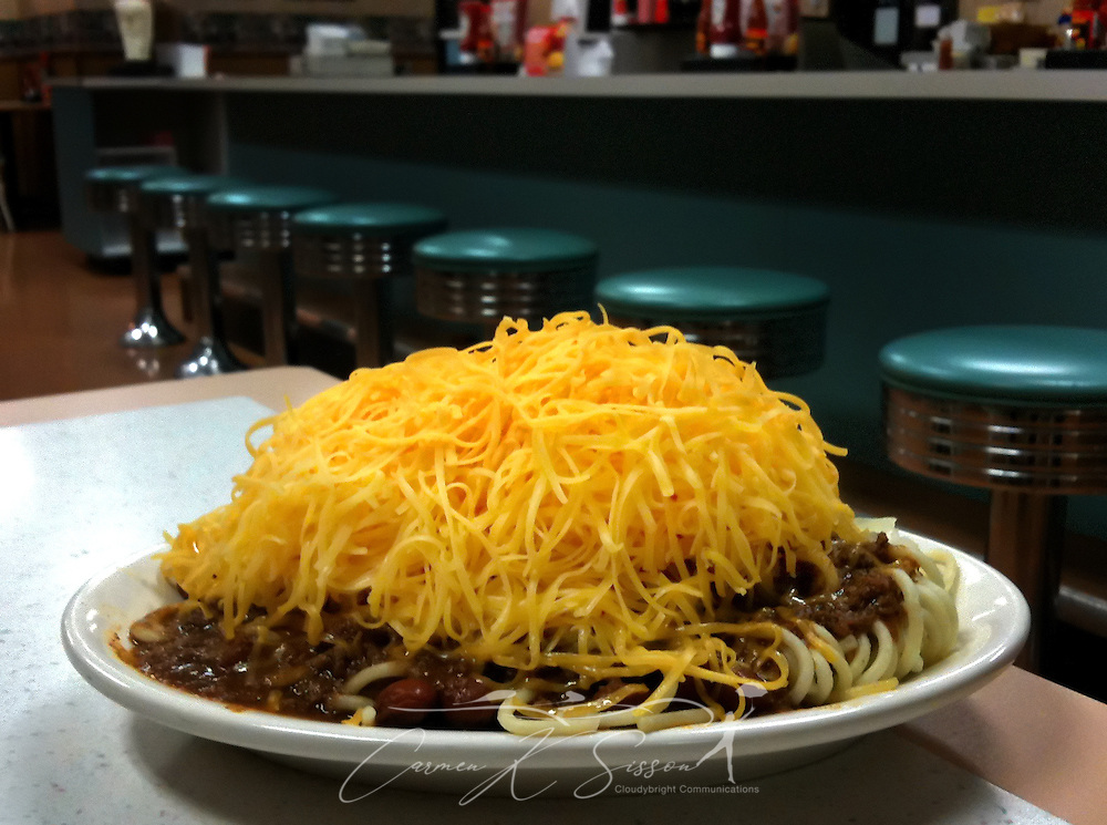 The 5-Way, at Gold Star Chili in Somerset, Ky., contains spaghetti, chili, beans, onions, and cheese. Gold Star Chili was founded in 1965 in Cincinnati and now has 21 locations. (Photo by Carmen K. Sisson/Cloudybright)
