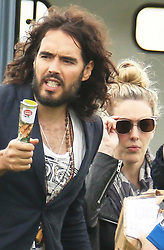 © London News Pictures. Russell Brand and Laura Gallacher, sister of Kirsty Gallacher, pictured at Baltonsborough Show on Bank Holiday Monday. Photo credit: Jason Bryant/LNP