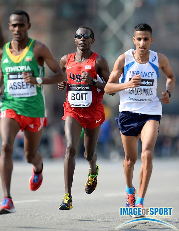 Mar 29, 2014; Copenhagen, Denmark; Josphat Boit (USA) places 21st in 1:01:33 in the IAAF/AL-Bank World Half Marathon Championship. Photo by Jiro Mochizuki