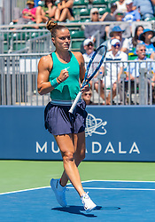 August 5, 2018 - San Jose, CA, U.S. - SAN JOSE, CA - AUGUST 05: Maria Sakkari (GRE) gestures after taking a game during the WTA Singles Championship at the Mubadala Silicon Valley Classic  at the San Jose State University Stadium Court in San Jose, CA  on Sunday, August 5, 2018. (Photo by Douglas Stringer/Icon Sportswire) (Credit Image: © Douglas Stringer/Icon SMI via ZUMA Press)