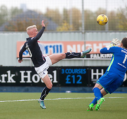 Falkirk's Craig Sibbald scoring their first goal. Falkirk 2 v 1 Dunfermline, Scottish Championship game played 15/10/2016, at The Falkirk Stadium.