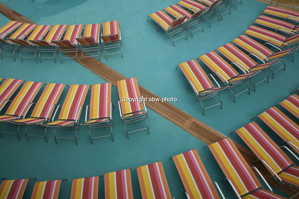 The launch of Royal Caribbean International's Oasis of the Seas, the worlds largest cruise ship..The Beach Pool area deckchairs.