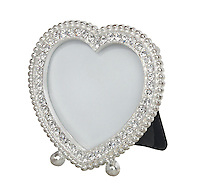 silver heart picture frame with rhinestones