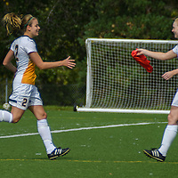 2nd year midfielder Jet Davies (17) of the Regina Cougars subs in for 2nd year forward Kirsten Finley (2) during the Women's Soccer Homeopener on September 10 at U of R Field. Credit: Arthur Ward/Arthur Images