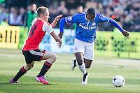 ROTTERDAM  - Feyenoord - PSV , eredivisie , voetbal , Feyenoord stadion de Kuip , seizoen 2014/2015 , 22-03-2015 , PSV Speler Jetro Willems (R) in duel met Feyenoord speler Jens Toornstra (l)