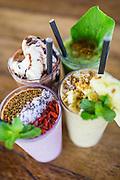Power smoothie, Berryripe smoothie, Troppo smoothie, and Kopi smoothie.