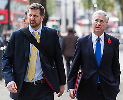 London, November 01 2017. Defence Secretary Sir Michael Fallon (right) is seen walking on Whitehall. © Paul Davey