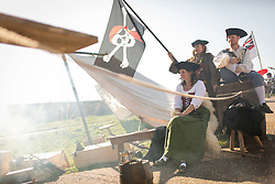 © Licensed to London News Pictures. 06/09/2015. Wells next the Sea , North Norfolk , UK.<br /> Sunny weather at The Wells next the sea Pirate Festival , Wells next the Sea , North Norfolk. <br /> The Black Knight Historical Society.<br /> Photo credit : Chris Bull/LNP
