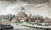 Shakespeare Jubilee, Stratford-upon-Avon, 6-8 September 1769 organised by the great English actor David Garrick (1717-1779), showing wooden pavilion erected by River Avon and celebrations in progress. Aquatint of 1795.