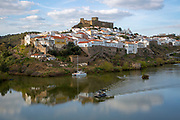 Historic hilltop walled medieval village of Mértola with castle, on the banks of the river Rio Guadiana, Baixo Alentejo, Portugal, Southern Europe