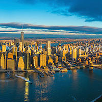 Aerial photograph of New York City/Manhattan. This version is watermarked, contact us to license and clean version.