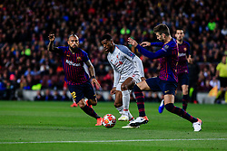 May 1, 2019 - Barcelona, BARCELONA, Spain - 05 Georginio Wijnaldum of Liverpool FC defended by 03 Gerard Pique of FC Barcelona and 22 Arturo Vidal of FC Barcelona during the UEFA Champions League first leg match of Semi final between FC Barcelona and Liverpool FC in Camp Nou Stadium in Barcelona 01 of May of 2019, Spain. (Credit Image: © AFP7 via ZUMA Wire)