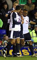 Photo: Dave Linney.<br />Birmingham City v Tottenham Hotspur. The Barclays Premiership. 18/03/2006Spurs .Aaron Lennon(C) celebrates after making it 1-0 to Spurs
