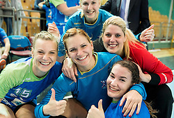 Barbara Lazovic of Slovenia, Neli Irman of Slovenia, Misa Marincek of Slovenia and Tjasa Stanko of Slovenia after the handball match between National Teams of Slovenia and Former Yugoslav republic of Macedonia in Round #3 of EHF European Women Championship Qualifications, on March 10, 2016 in Arena Luknja, Maribor, Slovenia. Photo by Vid Ponikvar / Sportida