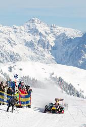 14.01.2016, Hahnenkamm, Kitzbühel, AUT, FIA, Formel 1, Projekt Spielberg Showrun, im Bild Showrun mit Max Verstappen (NED) Red Bull Racing RB7 // Daniel Ricciardo of Netherlands on Red Bull Racing RB7 in action during the Project Spielberg Showrun at Hahnenkamm in Kitzbuehel, Austria on 2016/01/14. EXPA Pictures © 2016, PhotoCredit: EXPA/ Johann Groder