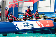 The Great Sound, Bermuda, 20th June 2017, Red Bull Youth America's Cup Finals.Team France Jeune celebrate winning race two.
