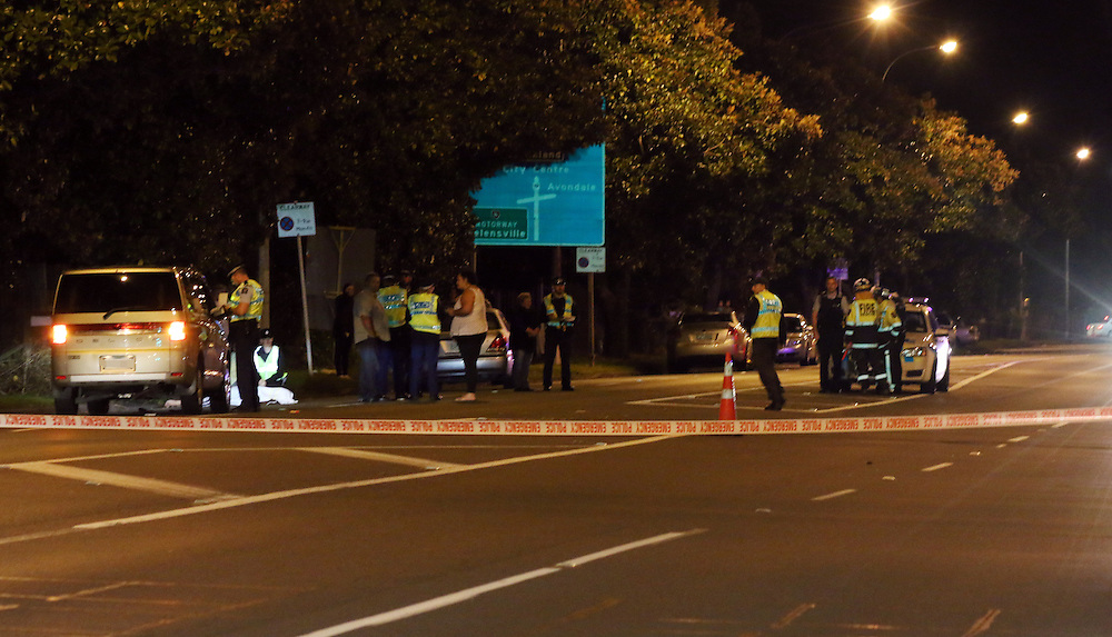 An elderly female pedestrian crossing the road was struck by a car leaving a service station in Ash Street and died at the scene, Avondale, Auckland, New Zealand, Saturday April 18, 2015. Credit:SNPA / Daniel Hines