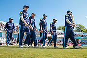 The Yorkshire County Cricket Club players walk out for the start of the game. Tim Bresnan (Yorkshire CCC) shares a joke with his team mates before the Royal London 1 Day Cup match between Yorkshire County Cricket Club and Durham County Cricket Club at Headingley Stadium, Headingley, United Kingdom on 3 May 2017. Photo by Mark P Doherty.