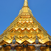 Gilded Chedi on Upper Terrace at Grand Palace in Bangkok, Thailand <br />