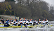 LONDON, ENGLAND - Thursday  13/12/2012 :  Forground Oxford University crew, Spitfire, during the 2012 Varsity trial 8's for The BNY Melon University Boat Race over the Championship Course [Putney to Mortlake]. The River Thames, England. (Mandatory Credit/ Peter  Spurrier/Intersport Images)