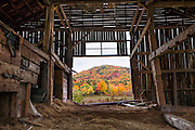 An old barn off of Route 26 in Newry, just before Grafton Notch State Park, shows a beautiful view of fall foliage  covered hill through the open door to the pasture.