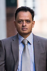 © Licensed to London News Pictures. 24/09/2018. London, UK.  MANISH SHAH, a family doctor from Romford arrives at the Old Bailey in London this morning. Manish Shah, 48 is accused of 32 sexual assaults and 44 counts of assault by penetration against 19 women during unnecessary examinations. Photo credit: Vickie Flores/LNP