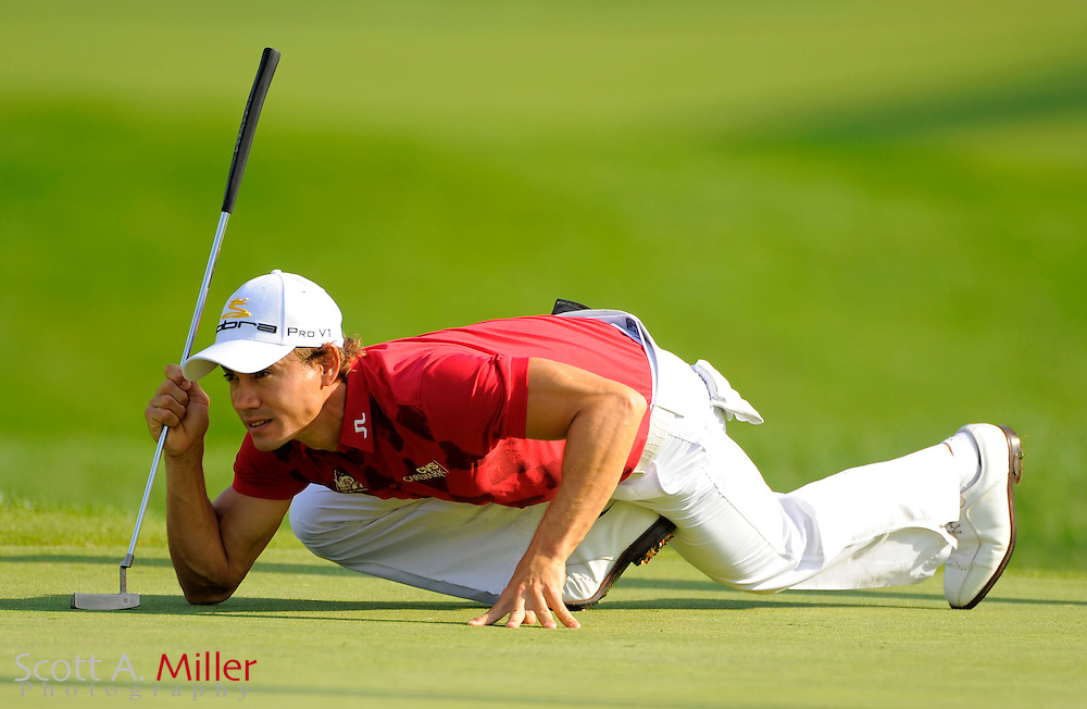 Aug 13, 2009; Chaska, MN, USA; Camilo Villegas (COL) lines up a putt on the 11th green during the first round of the 2009 PGA Championship at Hazeltine National Golf Club.  ..©2009 Scott A. Miller