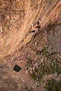 "Paige Claassen De Kock climbing ""Neccessary Evil"" (14c), Blasphemy Wall, Virgin River Gorge."