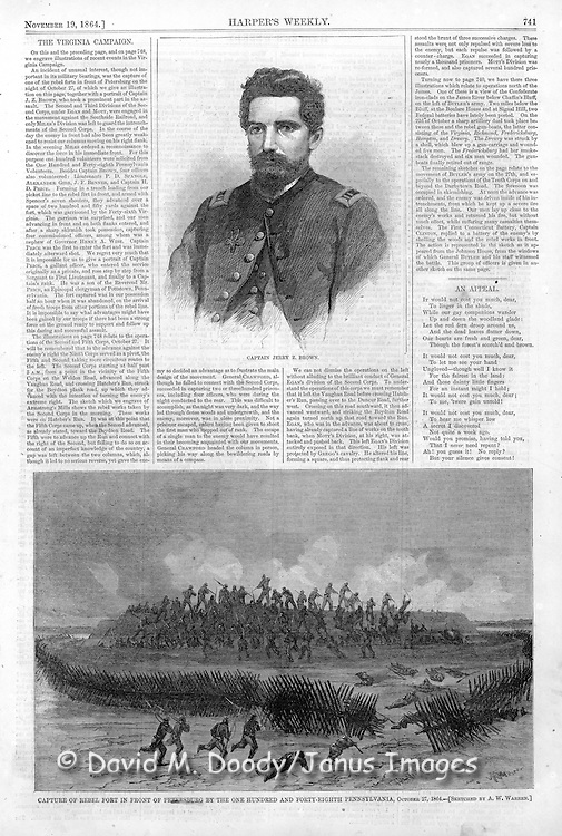 Civil War:.Capture of Rebel fort in front of Petersburg, Virginia. Oct 27 1864.Capt. Jerry Brown portrait.Harper's Weekly, November 19, 1864.
