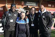 Chris Powell, Ivor Hellor (Operations Director at AFC Wimbledon), Dennis Wise and Trevor Sinclair join Jeff Stelling on his Men United March rounding off a 250-mile tour of 31 football clubs by walking from the Cherry Red Records Stadium on 30 March and he will stop off at Brentford, Fulham, Chelsea and QPR, before finishing off at Wembley Stadium on 30 March 2016. Photo by Stuart Butcher.