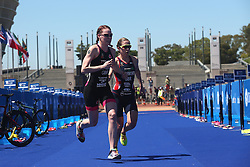 Lucy Hall of Great Britain and Jessica Learmonth of Great Britain set off for the run leg during the Elite Women race of the Discovery Triathlon World Cup Cape Town leg held at Green Point in Cape Town, South Africa on the 11th February 2017.<br /> <br /> Photo by Shaun Roy/RealTime Images