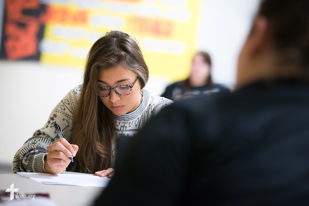 Anna Calhoun works during class in the Christopher Center on the campus of Concordia University Chicago in River Forest, Ill., on Friday, Oct. 10, 2014. LCMS Communications/Erik M. Lunsford