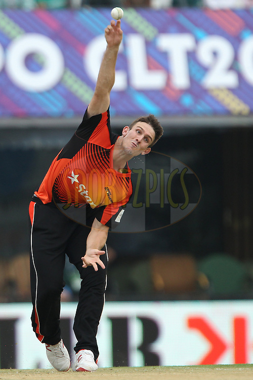Mitchell MARSH of the Perth Scorchers  during match 4 of the Oppo Champions League Twenty20 between the Dolphins and the Perth Scorchers held at the Punjab Cricket Association Stadium, Mohali, India on the 20th September 2014<br /> <br /> Photo by:  Ron Gaunt / Sportzpics/ CLT20<br /> <br /> <br /> Image use is subject to the terms and conditions as laid out by the BCCI/ CLT20.  The terms and conditions can be downloaded here:<br /> <br /> http://sportzpics.photoshelter.com/gallery/CLT20-Image-Terms-and-Conditions-2014/G0000IfNJn535VPU/C0000QhhKadWcjYs