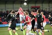 Salford City defender Nathan Pond clear the area during the EFL Sky Bet League 2 match between Salford City and Macclesfield Town at the Peninsula Stadium, Salford, United Kingdom on 23 November 2019.