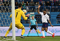 PODGORICA, MONTENEGRO - MARCH 25: England's Raheem Sterling during the 2020 UEFA European Championships group A qualifying match between Montenegro and England at Podgorica City Stadium on March 25, 2019 in Podgorica, Montenegro. (MB Media)
