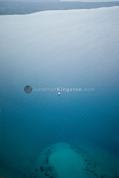 An aerial view of the east coast of, Zanzibar, on the Indian Ocean, Tanzania.