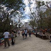 Tourist in Chichen Itza. Yucatan, Mexico.