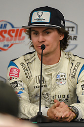 March 23, 2019 - Austin, TX, U.S. - AUSTIN, TX - MARCH 23: Colton Herta (88) of Harding Steinbrenner Racing driving a Honda speaks during a press conference following the IndyCar afternoon qualifications at Circuit of the Americas on March 23, 2019 in Austin, Texas. (Photo by Ken Murray/Icon Sportswire) (Credit Image: © Ken Murray/Icon SMI via ZUMA Press)