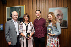 19/08/2015<br /> Pictured at the opening night of 'The Bog of Cats' by Marina Carr at The Abbey Theatre were (L-R) Peter Wright, Geraldine Woods, Tristan Dent and Maeve Wright.