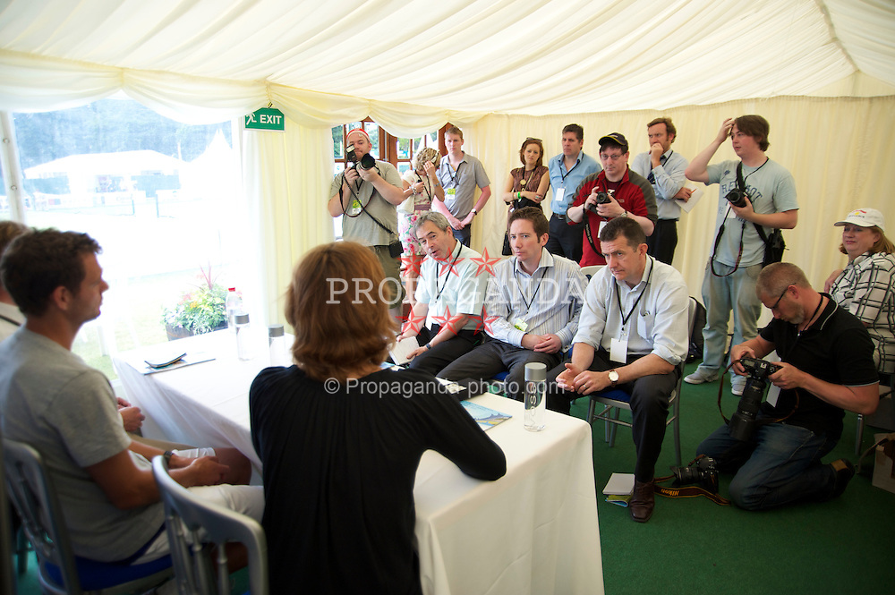 LIVERPOOL, ENGLAND - Wednesday, June 16, 2010: The media interview Martina Hingis (SUI) during a press conference day one of the Liverpool International Tennis Tournament at Calderstones Park. (Pic by David Rawcliffe/Propaganda)