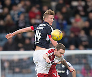 Dundee&rsquo;s Mark O&rsquo;Hara out jumps Rangers&rsquo; Lee Hodson - Dundee v Rangers in the Ladbrokes Scottish Premiership at Dens Park, Dundee.Photo: David Young<br /> <br />  - &copy; David Young - www.davidyoungphoto.co.uk - email: davidyoungphoto@gmail.com