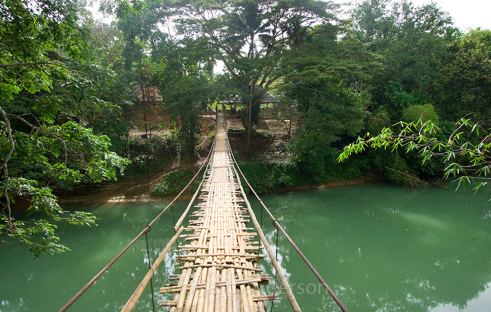 A foot bridge over the Loboc River, Bohol, Philippines