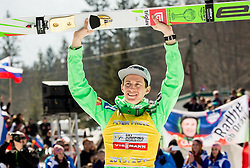 Overall World Cup winner Peter Prevc (SLO) celebrates during trophy ceremony after the Ski Flying Hill Individual Competition at Day 4 of FIS Ski Jumping World Cup Final 2016, on March 20, 2016 in Planica, Slovenia. Photo by Vid Ponikvar / Sportida