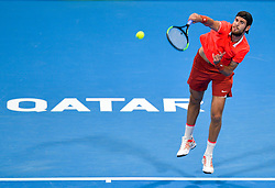 Karen Khachanov of Russia  serves to Stan Wawrinka of Switzerland during their first round of ATP Qatar Open Tennis match at the Khalifa International Tennis Complex in Doha, capital of Qatar, on January 01, 2019. Wawrinka won 2-0  (Credit Image: © Nikku/Xinhua via ZUMA Wire)