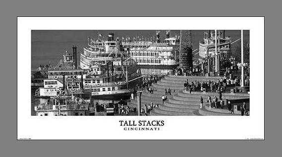 Signed and numbered 12x24 panoramic poster of a black and white scene of Tall Stacks at Serpentine Wall
