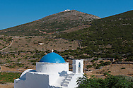 Aghios Antonios  and Aghios Dhimos on a hilltop in northern  Sifnos, The Cyclades, Greek Islands, Greece, Europe