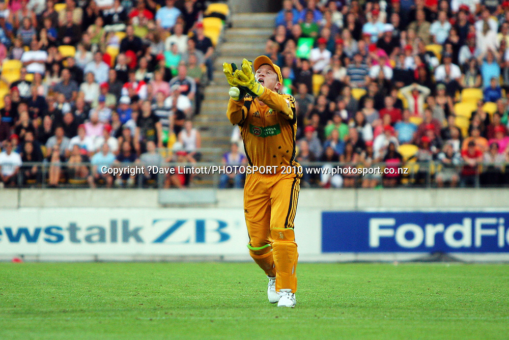 Brad Haddin drops NZ's Martin Guptill.<br /> 1st Twenty20 cricket match - New Zealand v Australia at Westpac Stadium, Wellington. Friday, 26 February 2010. Photo: Dave Lintott/PHOTOSPORT
