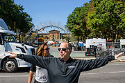 Philadelphia, Pennsylvania - September 17, 2015: Scott Mirkin tours the Eakins Oval site with Bianca Bethel, sight operations director for ESM Thursday September 17, 2015. <br /> <br /> <br /> Scott Mirkin's company ESM is heading the production of The World Meeting Of Families and Pope Francis's visit to Philadelphia this Fall. The events will take place along the Benjamin Franklin Parkway.<br /> <br /> CREDIT: Matt Roth for The New York Times<br /> Assignment ID: 30179397A